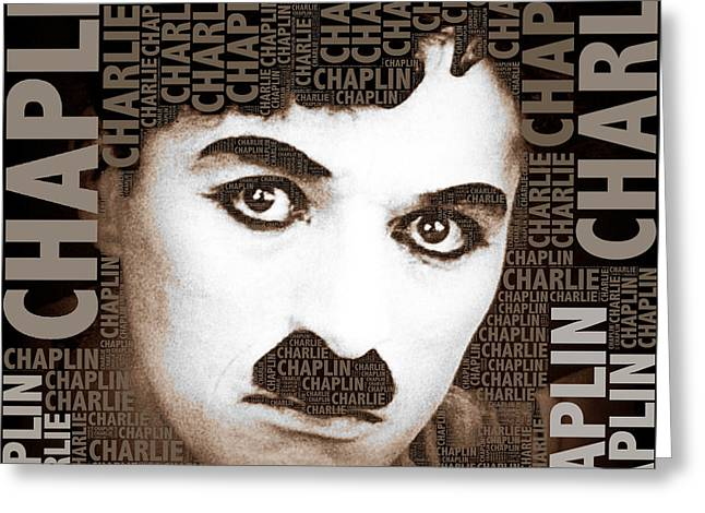 Comedian Mixed Media Greeting Cards - Sir Charles Spencer Charlie Chaplin Square Greeting Card by Tony Rubino