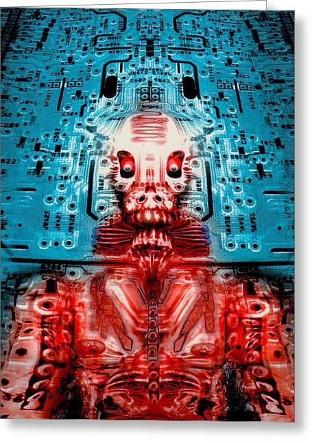 Creepy Digital Greeting Cards - Sir Circuitys sartorial cybernetics Greeting Card by Del Gaizo