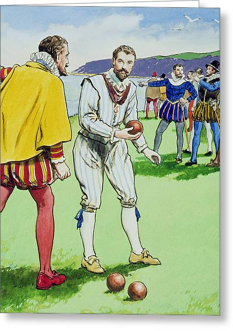 Sir Francis Drake Playing Bowls Greeting Card by Trelleek