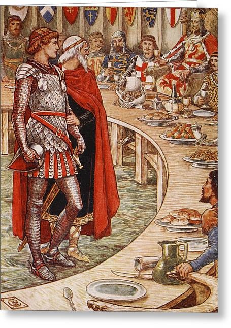 Knights Castle Paintings Greeting Cards - Sir Galahad is brought to the Court of King Arthur Greeting Card by Walter Crane