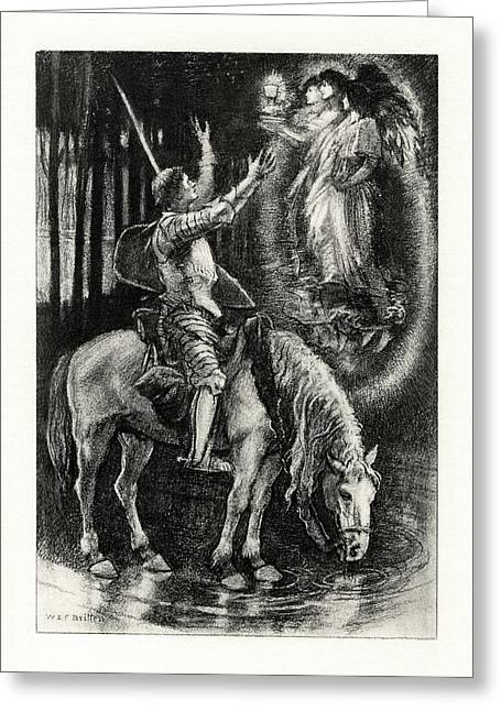 1916 Drawings Greeting Cards - Sir Galahad Greeting Card by Celestial Images