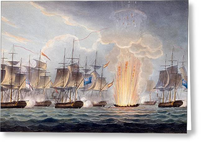 Straits Of Malacca Greeting Cards - Sir Graham Moores Action Off Cape St Greeting Card by English School