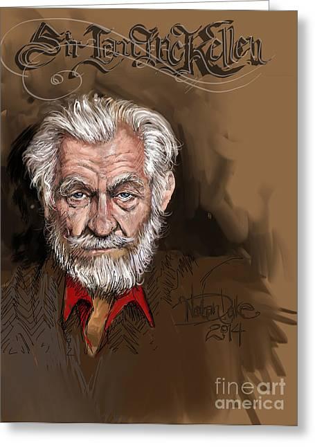 Sketchbook Greeting Cards - Sir Ian McKellen Greeting Card by Mister Duke