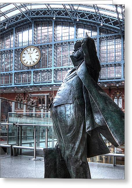 Large Clock Greeting Cards - Sir John Betjeman Statue and Clock at St Pancras Station Greeting Card by Gill Billington