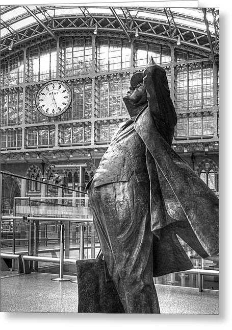 Large Clock Greeting Cards - Sir John Betjeman Statue and Clock at St Pancras Station in Black and White Greeting Card by Gill Billington