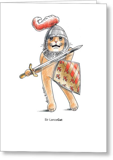 Camelot Drawings Greeting Cards - Sir Lancecat Greeting Card by Louise McClain Reeves