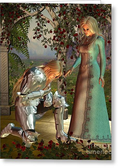 Guinevere Digital Greeting Cards - Sir Launcelot and Queen Guinevere Greeting Card by Fairy Fantasies