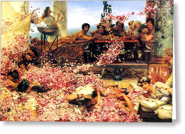 Old Masters Greeting Cards - Sir Lawrence Alma Tadema Greeting Card by The Roses of Heliogabalus