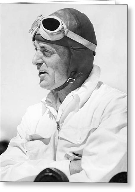 Famous Aviators Greeting Cards - Sir Malcolm Campbell Portrait Greeting Card by Underwood Archives