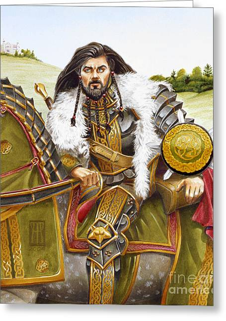 Camelot Mixed Media Greeting Cards - Sir Marhaus Greeting Card by Melissa A Benson