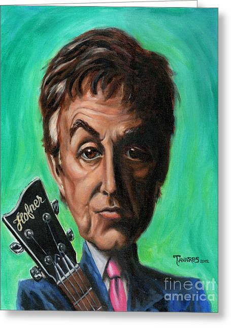 The Beatles Greeting Cards - Sir Paul Greeting Card by Mark Tavares