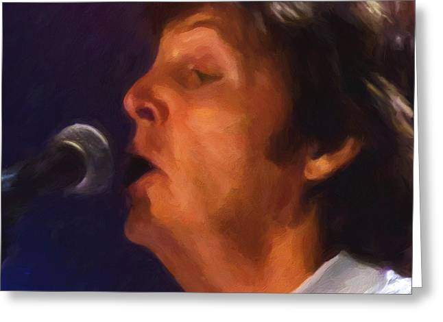 Recording Artists Greeting Cards - Sir Paul Greeting Card by Michael Pickett
