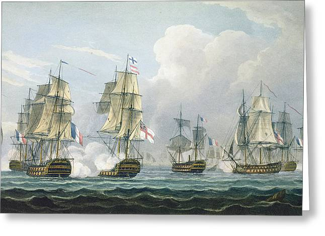 Battleships Greeting Cards - Sir Richard Strachans Action after the Battle of Trafalgar Greeting Card by Thomas Whitcombe