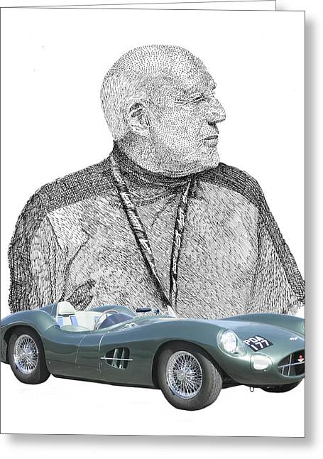 Auction Drawings Greeting Cards - Sir Stirling Moss 1957 Aston Martin Greeting Card by Jack Pumphrey