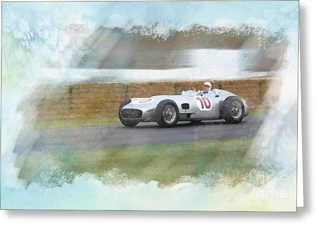 Stirling Moss Greeting Cards - Sir Stirling Moss Greeting Card by Roger Lighterness