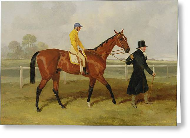 Sir Tatton Sykes Leading in the Horse Sir Tatton Sykes with William Scott Up Greeting Card by Harry Hall