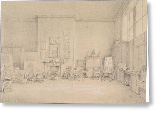 Atelier Greeting Cards - Sir Thomas Lawrences Studio; 65 Russell Square, London, 1824 Pencil, Heightened With Touches Greeting Card by Emily Calmady