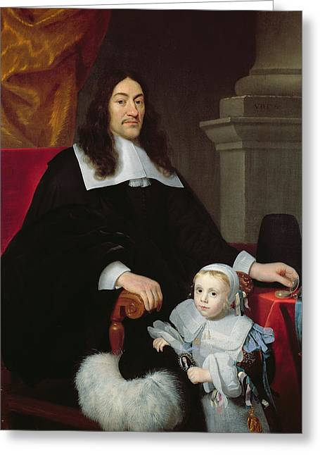 Puritan Greeting Cards - Sir William Davidson Of Curriehill 161516-89 With His Son, 1664 Greeting Card by Simon Luttichuys