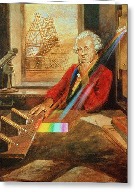 Discoverer Greeting Cards - Sir William Herschel 1738-1822 Greeting Card by Ken Hodges