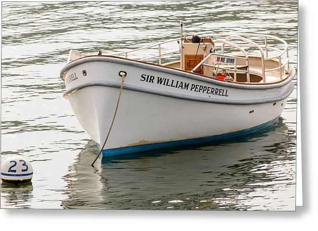 Solitary Activities Greeting Cards - Sir William Pepperrell Boat in Maine Greeting Card by Laura Duhaime