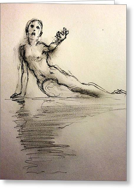 Nude Figurative Greeting Cards - Siren Greeting Card by H James Hoff