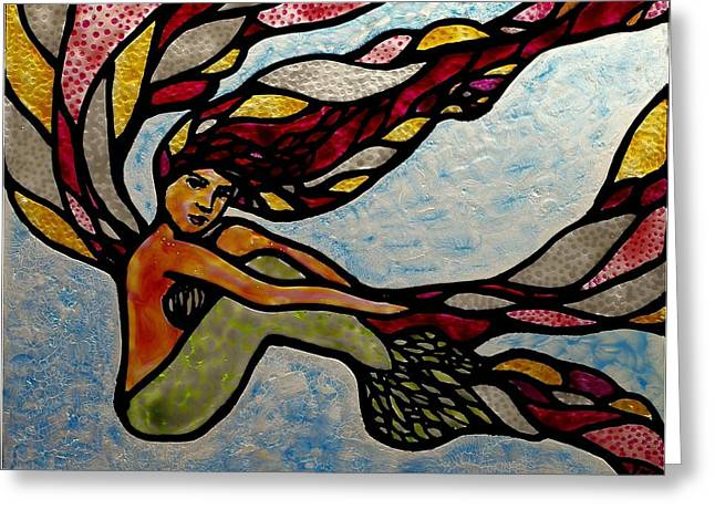 Fantastic Glass Art Greeting Cards - Siren Sighs Greeting Card by Teresa Young