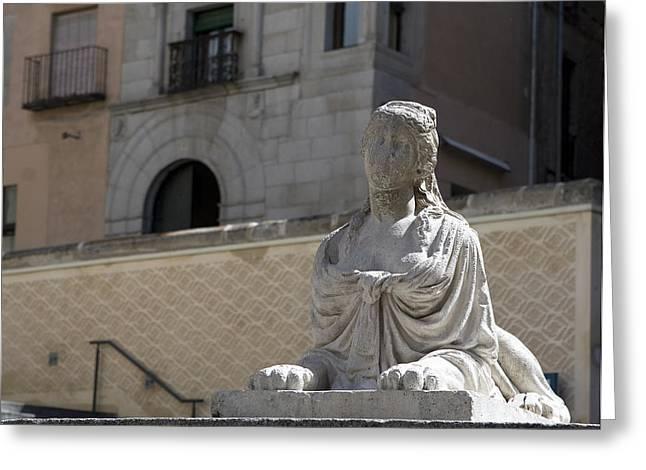 Siren Sphinx In The Medina Del Campo Greeting Card by Lorraine Devon Wilke