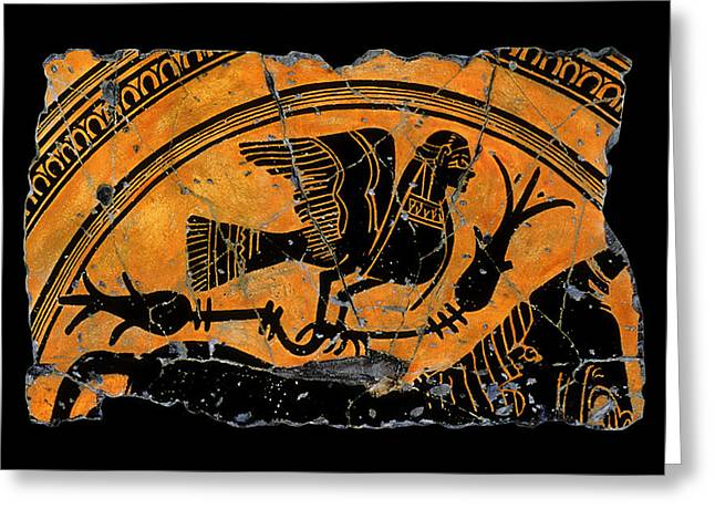 Ancient Greek Greeting Cards - Siren With Lotus Buds Greeting Card by Steve Bogdanoff