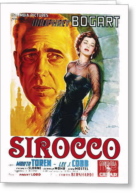 Movie Poster Greeting Cards - Sirocco Movie Poster Humphrey Bogart Greeting Card by MMG Archive Prints