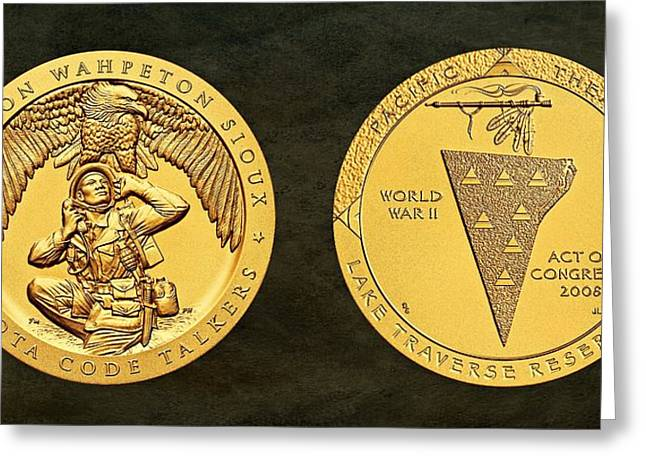 Tipis Greeting Cards - Sisseton Wahpeton Oyate Sioux Tribe Code Talkers Bronze Medal Art Greeting Card by Movie Poster Prints