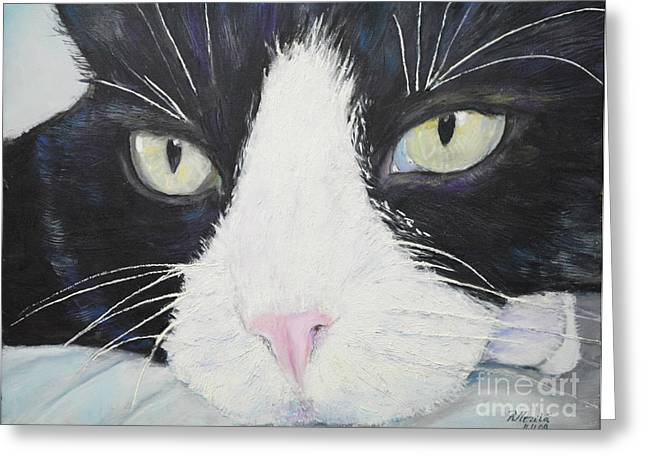 Pictures Of Cats Paintings Greeting Cards - Sissi the Cat 2 Greeting Card by Raija Merila
