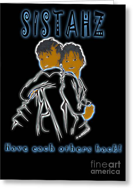 Child Care Mixed Media Greeting Cards - Sistahz Greeting Card by Javon Dixon