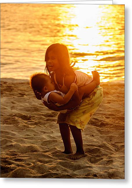 Asien Greeting Cards - Sister and Brother on the Beach Greeting Card by Colin Utz