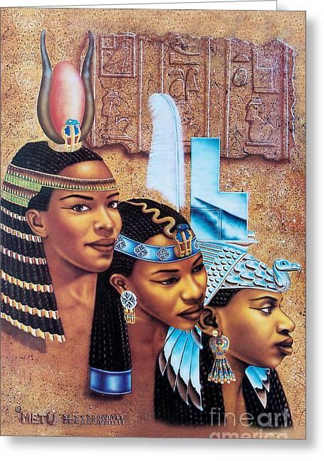 Hathor Paintings Greeting Cards - Sister-Goddess Greeting Card by Artist Metu