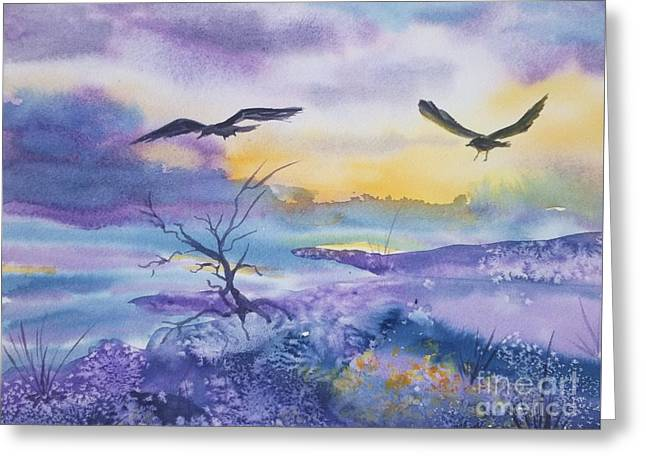 Mystical Landscape Greeting Cards - Sister Ravens Greeting Card by Ellen Levinson