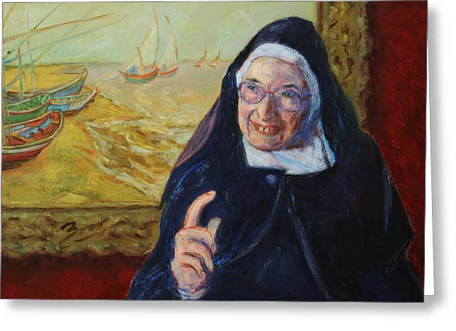 Christs Birthday Greeting Cards - Sister Wendy Greeting Card by Xueling Zou