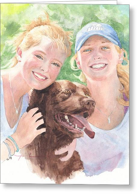 Chocolate Lab Greeting Cards - Sisters And Chocolate Lab In Sun Watercolor Portrait Greeting Card by Mike Theuer