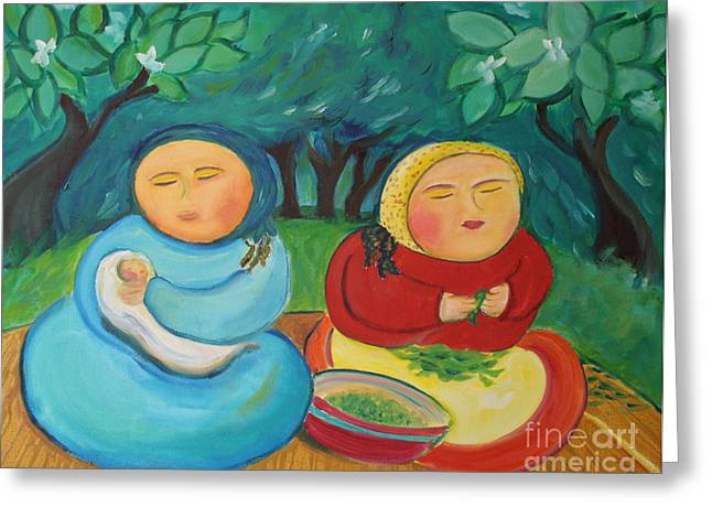 Green Beans Paintings Greeting Cards - Sisters and Green Beans Greeting Card by Teresa Hutto