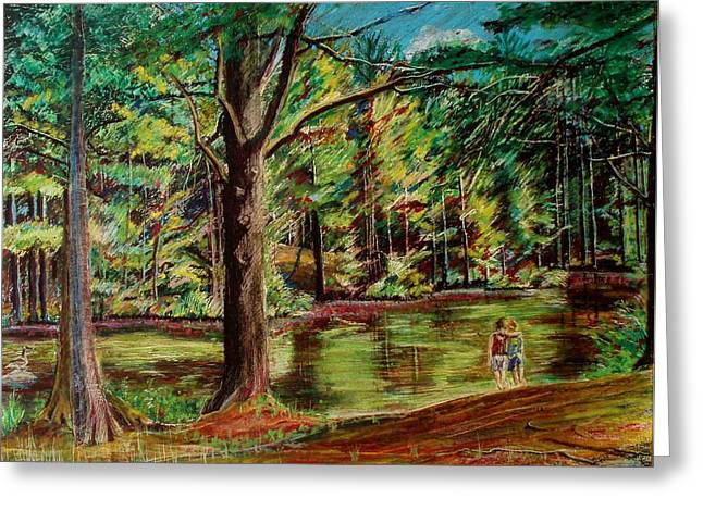 Tree Roots Pastels Greeting Cards - Sisters At Wason Pond Greeting Card by Sean Connolly