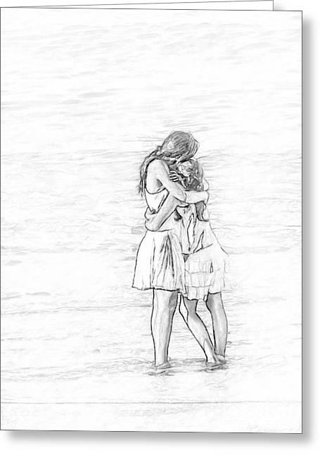 Daughter Gift Greeting Cards - Sisters Beach Hug Sketch Greeting Card by Randy Steele