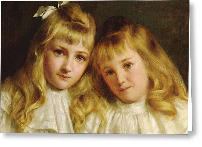 Female Friendship Greeting Cards - Sisters  Greeting Card by Edwin Harris