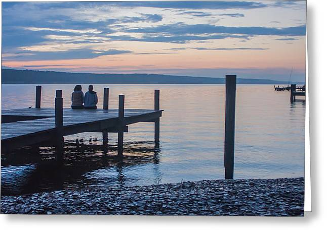 Sisters - Lakeside Living At Sunset Greeting Card by Photographic Arts And Design Studio