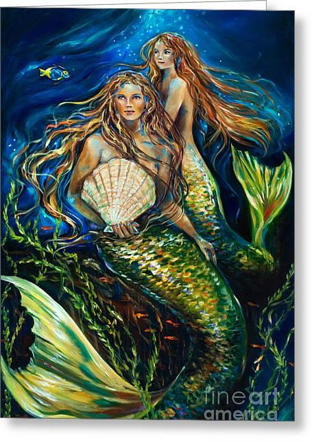 Siren Underwater Greeting Cards - Sisters Greeting Card by Linda Olsen