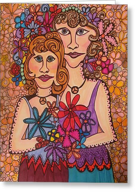 Sisters Of Peace  Greeting Card by Gerri Rowan