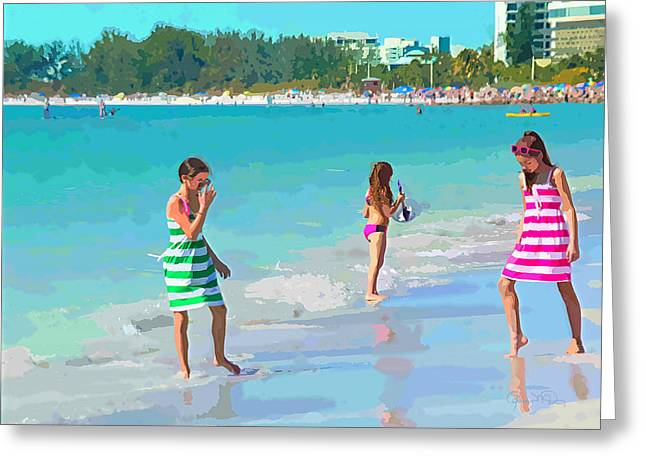 A Hot Summer Day Greeting Cards - Sisters Greeting Card by Susan Molnar