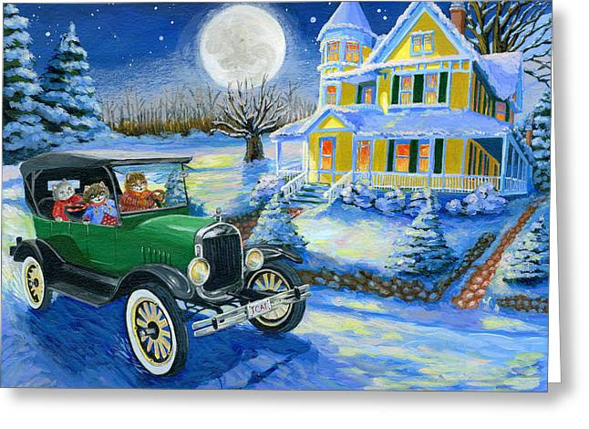 Ford Model T Car Paintings Greeting Cards - Sisters Winter Jaunt Greeting Card by Jacquelin Vanderwood