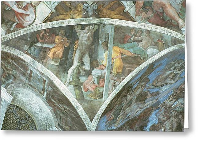 Testament Greeting Cards - Sistine Chapel Ceiling Haman Spandrel Pre Restoration Greeting Card by Michelangelo Buonarroti