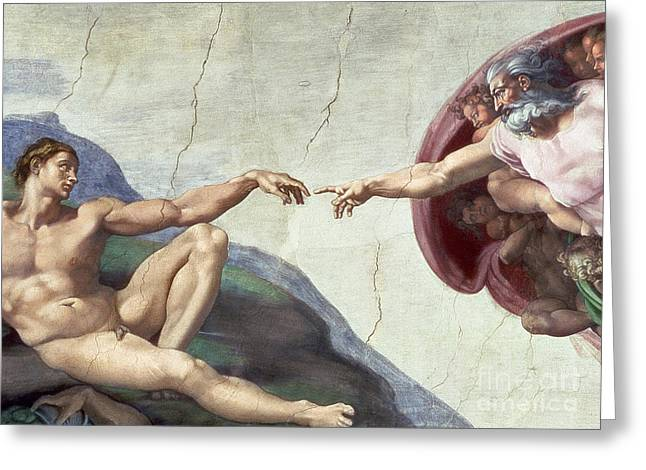 Religious Paintings Greeting Cards - Sistine Chapel Ceiling Greeting Card by Michelangelo Buonarroti
