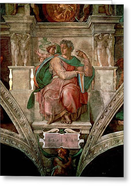 Old Testament Greeting Cards - Sistine Chapel Ceiling The Prophet Isaiah Fresco Greeting Card by Michelangelo Buonarroti