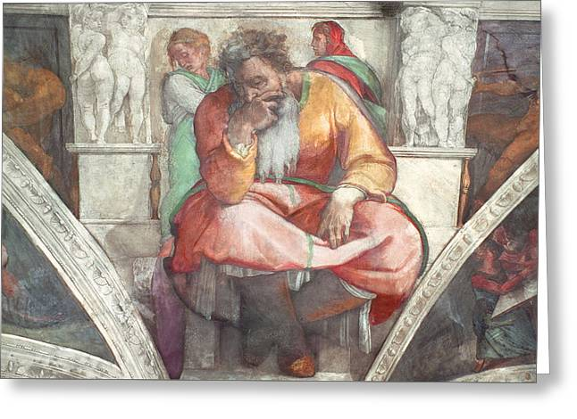 Sistine Chapel Ceiling The Prophet Jeremiah Pre Resoration Greeting Card by Michelangelo Buonarroti